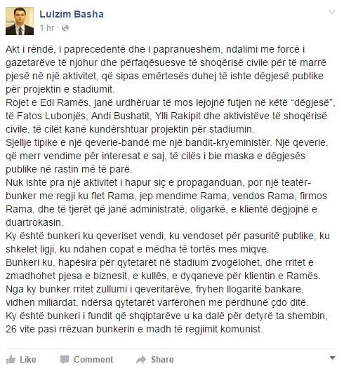 Lulzim Basha facebook