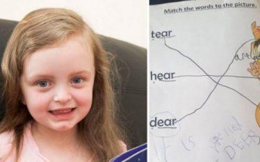 5 vjeçarja korrigjon gabimin e mësueses në germëzim (Foto)